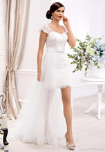 Beach Wedding Dress Short Front Long Back Floor-Length High Low Lace Bridal Gown Detachable Train Summer Dresses