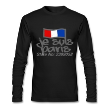 Men t-shirts 2017 Custom Made Je Suis Paris Tee shirts Long Sleeve Cotton Man T-shirts 2XL Plus Size(China)