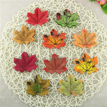 Hoomall 50PCs Fall Silk Artifical Maple Leaves Fake Fall Leaf Art Home Bedroom Wall Book Decor Wedding Party Decoration Craft