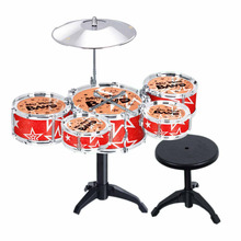 Children Kid's Toy Jazz Drum Set Early Educational Musical Instrument Toy Playset with Drum Cymbal Stand Stool Drumsticks