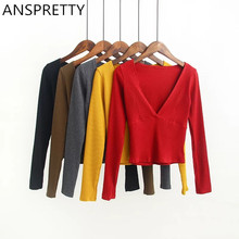 Anspretty Apparel 2016 Elastic Fabric Women Sexy Big V Neck Crop Top Long Sleeve Stretched T Shirt Five Color Fashion Tee