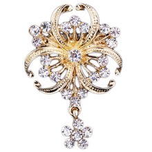 Hotsale 2016 new elegant jewelry pendants brooch gold color Rhinestone Brooches Wedding For Women Girl