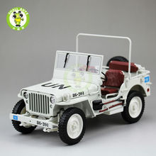 1:18 1/4 Ton US ARMY U.N. WILLYS JEEP TOP DOWN Diecast Car Model Welly white(China)