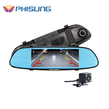 6.5inch Two Split View Display  HD1080P car dvr mirror Dual Lens G-Sensor Loop Recording parking dash cam video registrator car