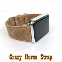 Classic Crazy Horse Leather Strap For Apple Watch Series1 and series2 Replacement WatchBand  38mm/42mm Brown band