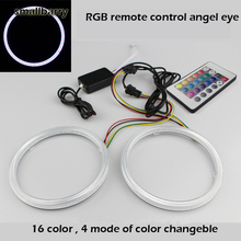 New coming 60-110mm COB RGB Angel Eyes 2Pcs/lot Halo Rings Angel Eye  Car Headlight Universal Angel Eyes With 24 Keys Controller