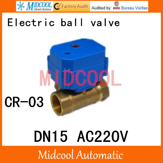 Brass Motorized Ball Valve 1/2 DN15 Water control Angle valve AC220V electrical ball (two-way) valve wires CR-03<br><br>Aliexpress