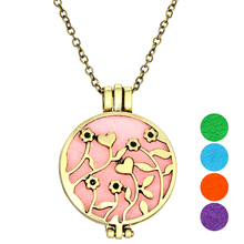Hollow Aroma Locket Aromatherapy Necklace Copper Color Diffuser Pendant Gasket Necklace Women Necklace (Buy 1 Get 4 Spacers)