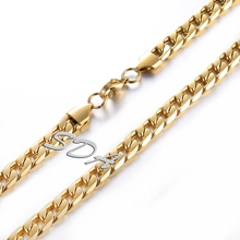 High quality 6mm 8mm thick 316L Stainless Steel cuban link long Chain with gold color Men Necklace Jewelry SN005G