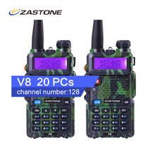 20Pcs Camouflage Ham Radio Zastone V8 Walkie Talkie Kids For Hunting 136-174MHz /400-520H Than Baofeng Professional Radio Talkie
