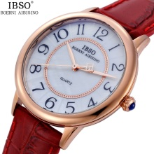 2016 IBSO Lovers Quartz Watch Women Men Genuine Leather Wrist Watches Male Female 3ATM Waterproof Fashion quartz-watch Clock 1pc