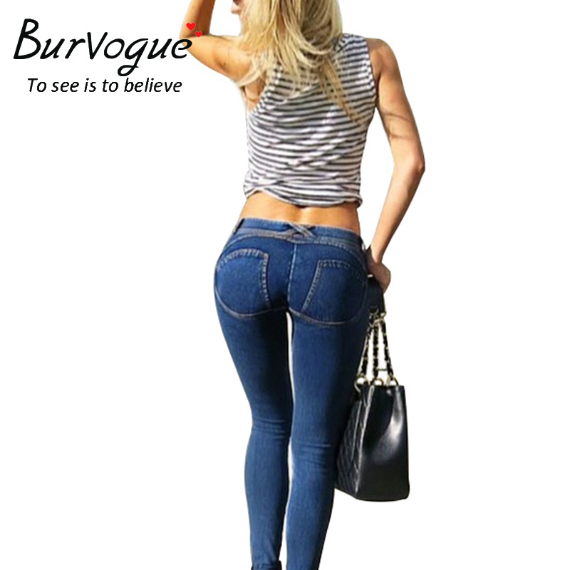 Burvogue Women  Hot Skinny Jeans Mid Waist and High Elasticity Jeans Pants Full Length Pencil Pants with Pockets Summer JeansОдежда и ак�е��уары<br><br><br>Aliexpress