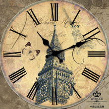 021022 Big Ben rural Europe type restoring ancient ways woodiness of England Creative decorative wall clock the living room(China)