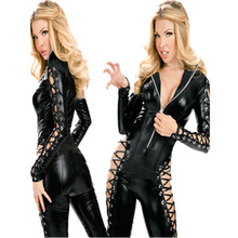 Buy Gothic Punk Fetish Black Latex Catsuit Faux Leather Lace Costume PVC Catsuit Bodysuit Catwoman Jumpsuit