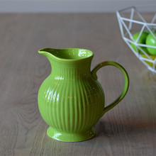 hot Selling Green Ceramic Stripe Pottery Water Pot with Handle High Quality Eco-friendly Home Decor Kitchenware