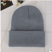 2016 New Winter Casual Gray Blue Black White Red Elastic Warm Knit Woolen Hat