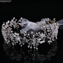 Fashion Silver Crystal Bride Long Headbands Hair Jewelry For Best Handmade Pearl Rhinestones Hairwear Wedding Hair Accessories