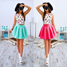 2017 Summer New Style Sexy Women Print Mini dress  Casual Fashion Female Floral Two Pieces Clothing