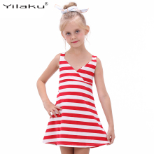 2017 Girl Striped Summer Dress Fashion Little Girl Backless Dresses Girls Sleeveless Beach Dress Kids Vest Sundress CA342