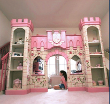 luxury European American style princess castle bed with ladder,slides, book cabinet and play place under(China)
