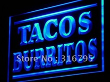 j085 Tacos Burritos Supply Display Adv LED Light Sign Wholeselling Dropshipper On/ Off Switch 7 colors DHL