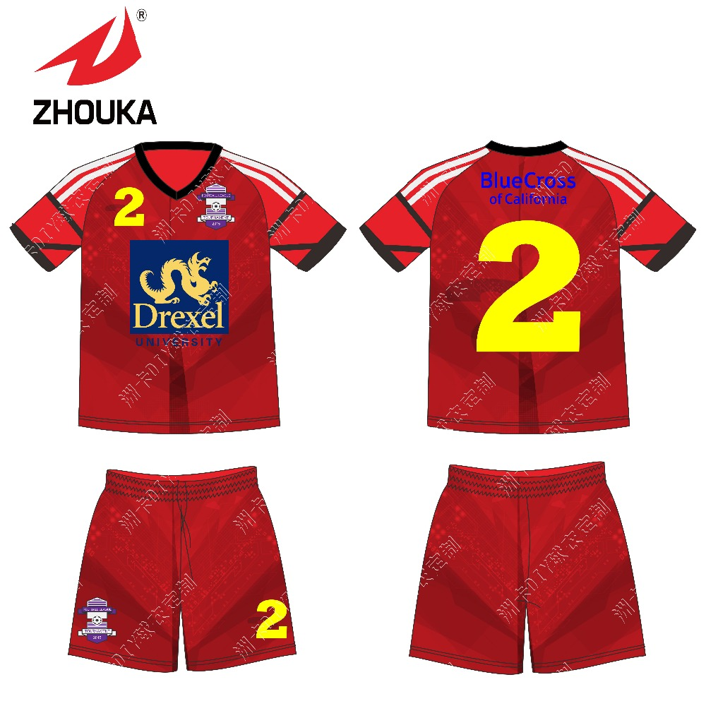 Free shipping cheap sublimated soccer uniform,In stock Football T-shirt maker soccer jersey(China (Mainland))