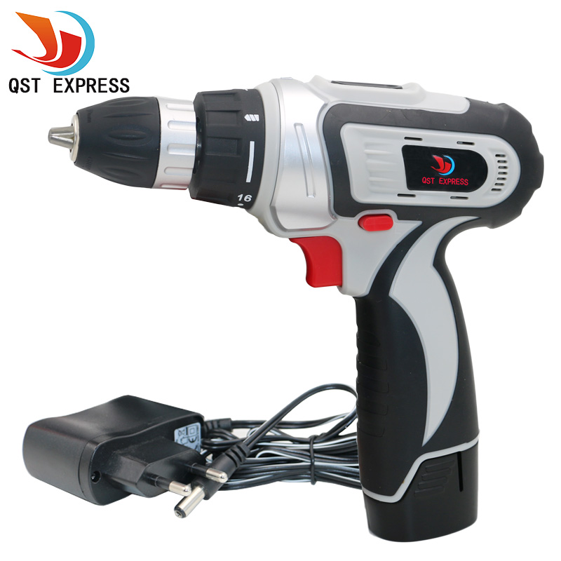 QSTEXPRESS 12V Household Cordless Drill Lithium/ Li-ion battery electric drill <br>
