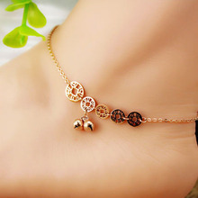 FreeShipping Titanium Steel Real Rose Gold color Birthday Gift  Never Fade Two Line Copper Coin Bells Anklet Woman Fine Jewelry