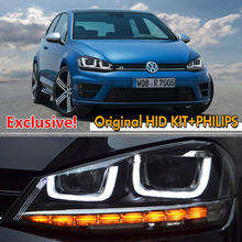 For VW Golf 7 Golf7 R R400 GTI MK7 VII Bi-Xenon High Intensity Headlights Headlamp Assembly LED DRL HID Gas Discharge Headlight