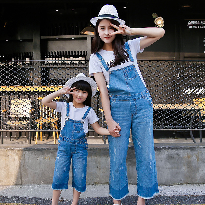 2017 new mother and daughter clothes denim overalls for girls women jeans mommy and me clothes family matching clothes<br>