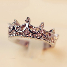 Fashion Queen's Silver Crown Rings For Women Punk Brand Crystal Jewellery Love Rings Femme Bijoux wedding engagement rings