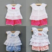 Summer Kids Clothing Sets Suit Lace Children Girl Clothes T Shirt And Lattice shorts Pants Infant Garment Cotton Blend(China)