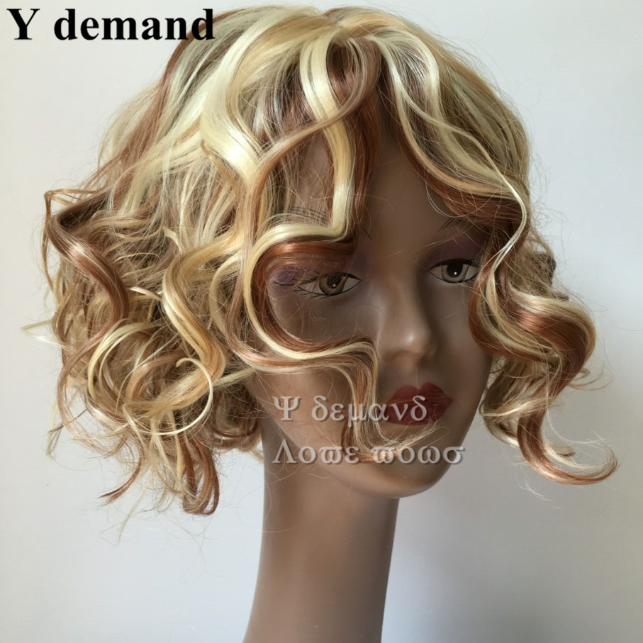Short Bob blonde curly wig Heat Kanekalon Wig synthetic hair wig curly bangs Female hair a generation of fat girl<br><br>Aliexpress