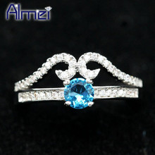Almei Cute Pink Crystal Silver Color Rings Bijoux Rainbow CZ Zircon Ring Women Anel Jewelry Crown Aneis Zirconia Gift Y2867(China)