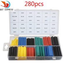 280Pcs 12 Sizes Polyolefin Assorted 2:1 Heat Shrink Tubing Tube Sleeve Wire Kit With Box 5 Colors Heat Shrink Tube(China)