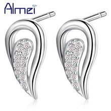 Almei 15%Off Wings Earrings Stud For Women Micro Pave Crystal Lady Brincos Silver Earring With Stones Gift Brincos Jewelry R334
