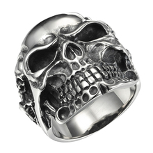 FUNIQUE 2017 Vintage Punk 316L Stainless Steel Rings Viking Skull Skeleton Men Ring Tibetan Gothic Rock Punk Jewelry Size 9-13