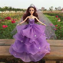 Baby Girl Kids Birthday Gift  Dress Doll' s Wedding Bride Dress Clothes Gown Dress For Barbie Doll