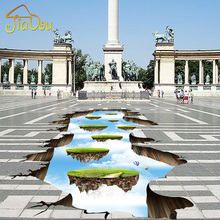 Custom Photo Floor Wallpaper Sky Ladder 3D Floor Paintings Living Room Bathroom Self-adhesive Wear Non-slip Waterproof Wallpaper(China)