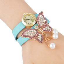 Butterfly Pendant Women Watches Rhinestone Crystal Beads Quartz Wristwatches Clock For Ladies Women Girls Gifts