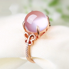 Pink Stone Rings Jewelry For Women Butterfly Seting Adjustable Hollow Style Clear Crystal Accessory Rings For Wedding Party Gift(China)