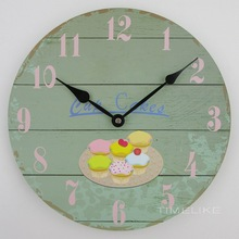 12 Inch Antique Wall Clock Cupcake Design MDF Wood Clock Horloge Watches Fashion Home Decoration