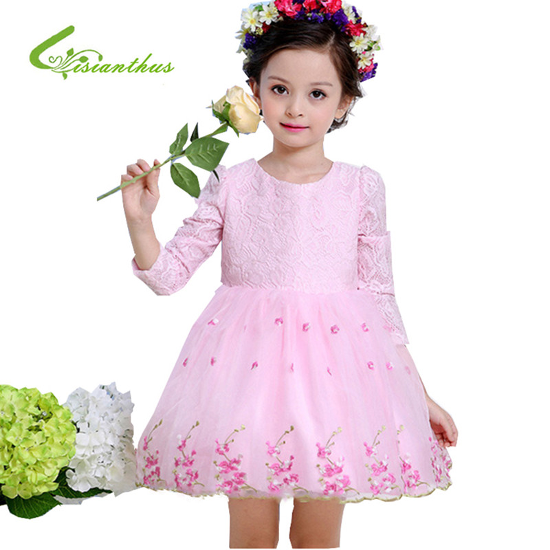 2017 Fashion Girl Dress Embroidered Dress Spring and Summer Mesh Gauze Cute Tutu Three Quarter and short Sleeved Cotton Dress<br><br>Aliexpress