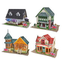DIY House 3D Puzzle World Style Paperboard Model, Cubic Fun Architectural Features Britain Flavor Puzzle 3D Toys For Children