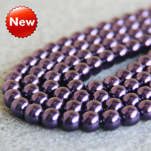 New For Necklace&Bracelet Accessories 10mm Dark Purple Shell pearl beads Seashell gift for women girl loose beads Jewelry 15inch(China)