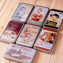 European Style Classic Pattern Rectangle Tin Storage Box Primary Color Ring Earring Jewelry Storage Iron Case Tin Box Organizer(China)
