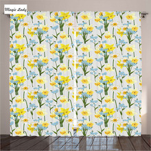 Curtains Kitchen Windows Decor Collection Flowers Daffodil Blossom Leaf Spring Garden Yellow Blue Gr Curtains Kitchen Windows D