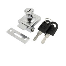 "UXCELL Replacment Silver Tone Keyed Cabinet Lock For 2/5"" Hinged Glass Door metal"