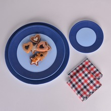 High Quality Denim Blue Ceramic Round Plate Dish for Meal 3 Pieces Modern and Delicate Home Deco Kitchenware(China)