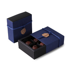 9*9*3.5CM deep sapphire blue 10 set Chocolate Paper Box valentine's day Christmas Birthday Party Gifts Packing use